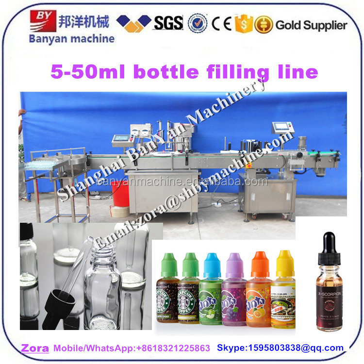 Automatic small scale essential oil / e liquid plastic bottle filling and sealing machine