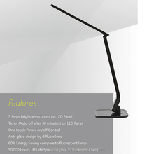 High quality and hot-selling adjustable smart touch control and auto timing LED desk lamp of ABS material with 5 steps dimming