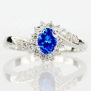 Exquisite 925 Sterling Silver Natural Sapphire Gemstones Opal Birthstone Bride Princess Wedding Engagement Strange Ring