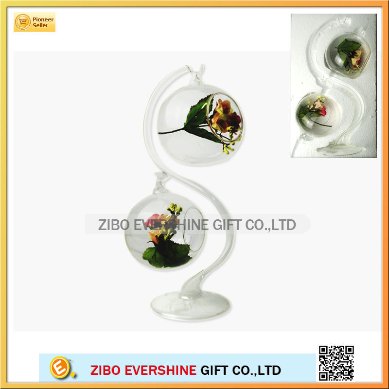 clear glass hanging vases