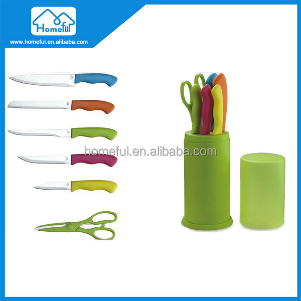 Hot selling ceramic coating stainless steel knife set