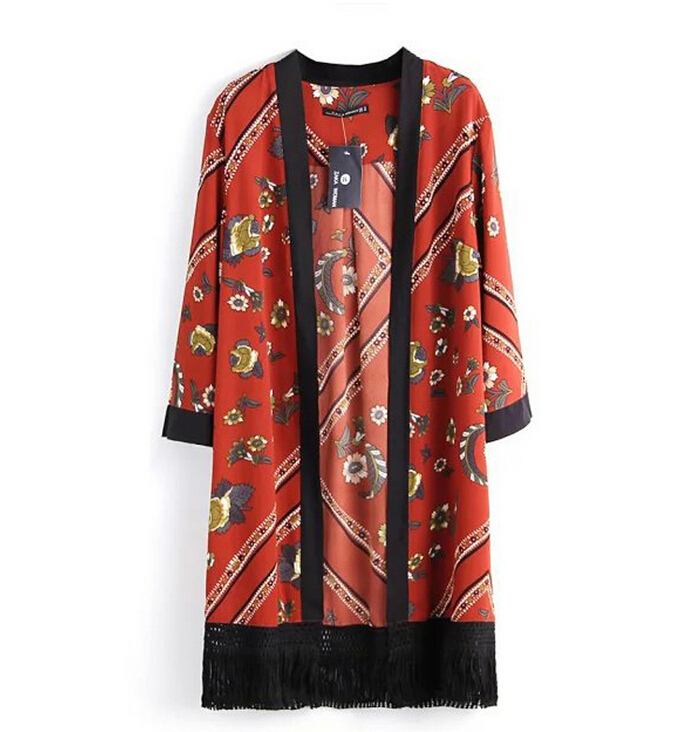 2015 New Fashion European and American style Women's 7943 Ethnic style print scarf fringed kimono-style shirt st238