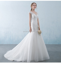 Charming Embroidery Mermaid Bridal Gown Appliqued Cap Sleeve Puffy Wedding Skirt Lace Long Princess Custom Wedding Dress