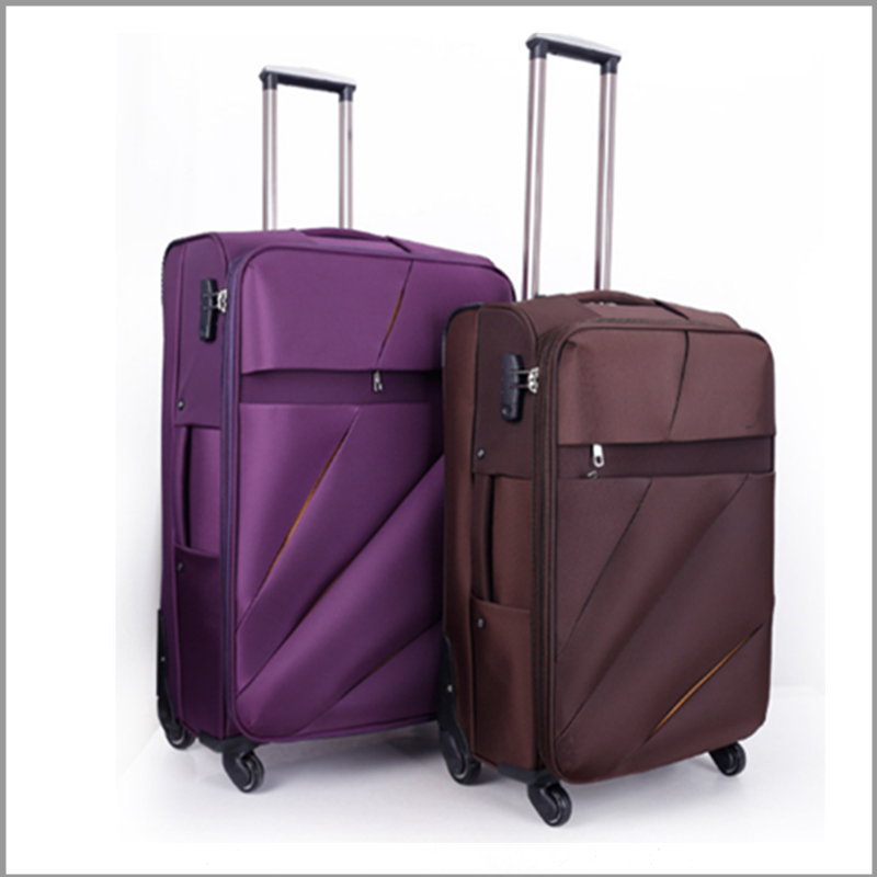 hot sale high quality nylon double zipper eva luggage bag 3pcs set with 4 wheels