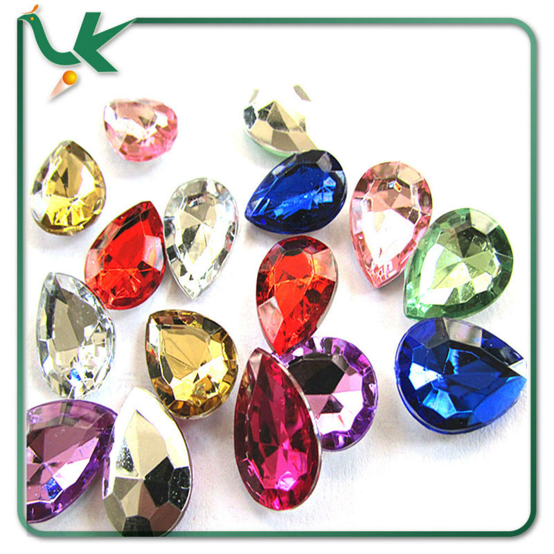 13*18mm DIY Accessories Assorted Color Point Back Tear Drop Plastic Gemstones