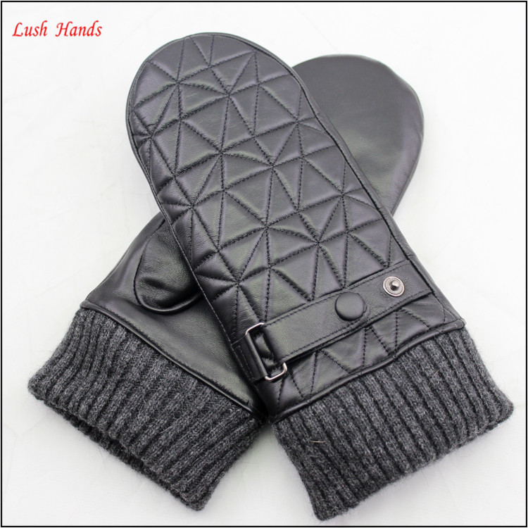 women fashion rabbit fur lining embroidery mitten leather gloves