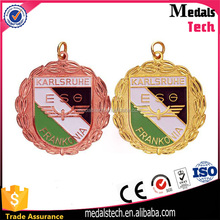 Promotional custom cheap copper gold art and craft running medal with color filled