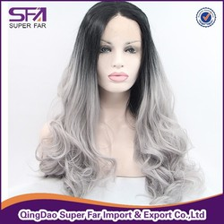Cheap grey hair wig synthetic lace front wig