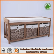 Long wooden storage bench indoor/outdoor shoe storage bench cushions
