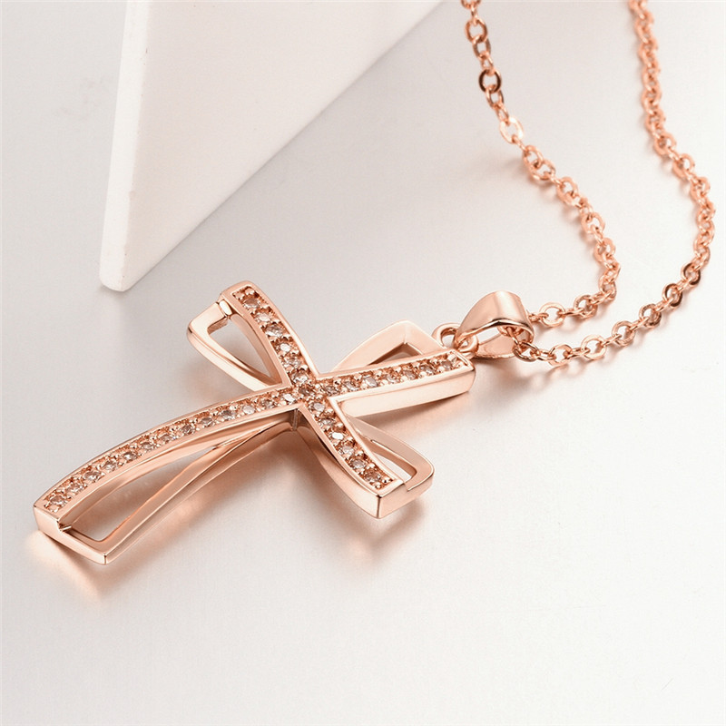 2016 Hot sale cross necklace zircon pendant necklace jewelry AN-010