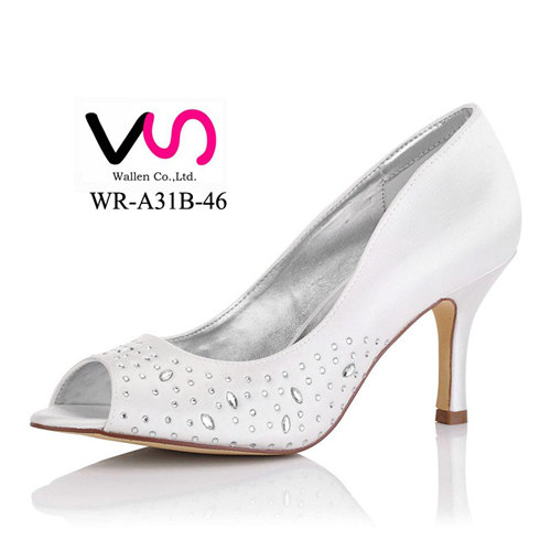 peeptoe dyeable satin wedding bridal shoes WR-A31-46 women dress shoes