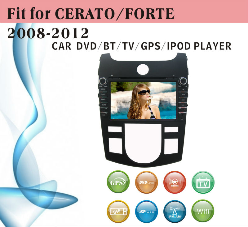 touch screen car dvd player fit for Kia Cerato Forte 2008 - 2012 automatic version with radio bluetooth gps tv