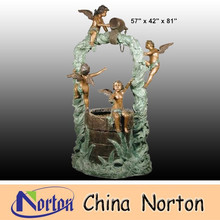 angel playing around water wells Outdoor large brass fountain NTBF-L131