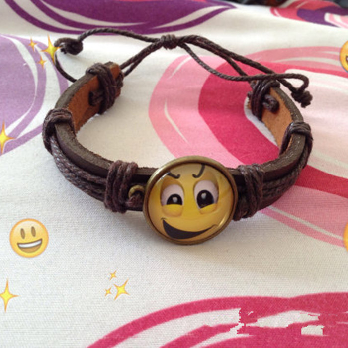New products 2016 hand made leather band emoji bracelet jewelry for promotion