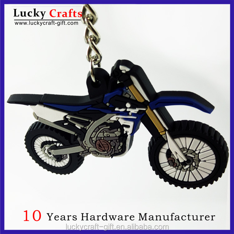 Design your own 3d soft pvc rubber motorcycle keyrings