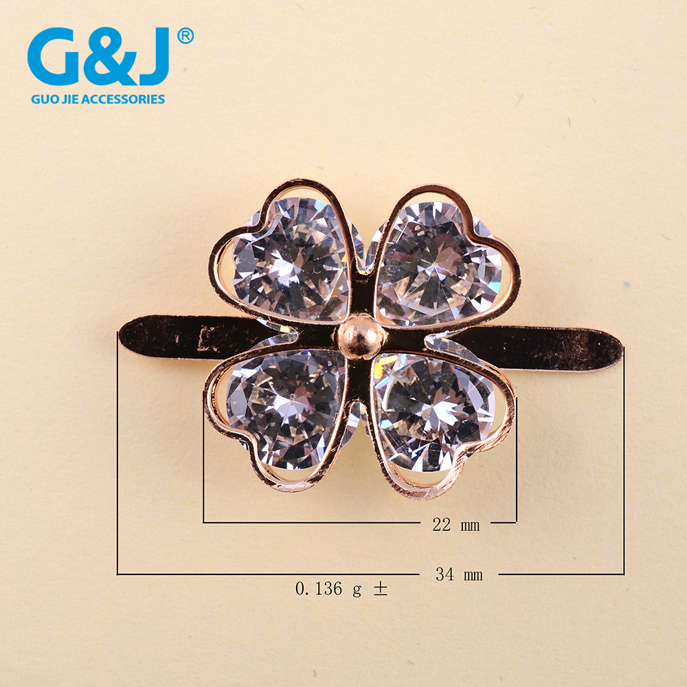 Gold metal color with crystal zircon stone lady bag buckle decoration