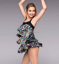 Dress features 4-tiers -multicolored paillette sequins -sexy hot latin dress for teen girl
