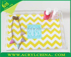 Customized hot Sell Lucite Tray/Acrylic Tray with paper