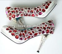 BS122 high quality red diamond bridal crystal wedding shoes