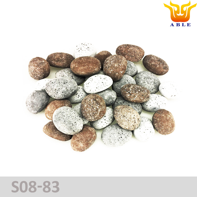 Gas fireplace pebble stone replace artificial fire wood