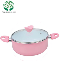 28CM Forged Pink Ceramic Coating Glass Insulated Casserole Dish with Stand