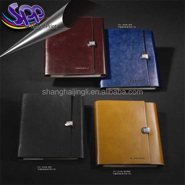 2017 custom gift A5 notebook luxury pu leather diary with pen holder