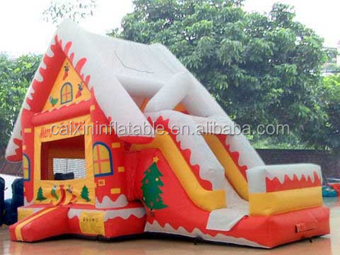 santa claus bouncy castles with slide,Inflatable santa clause bouncer castle