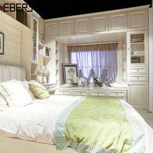 Customize Bed Room Furniture Bed with Wood Bedroom Cabinet Set