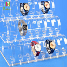 Environmental high reflective trade assurance best price cheap acrylic watch display rack stand rack cardboard counter case