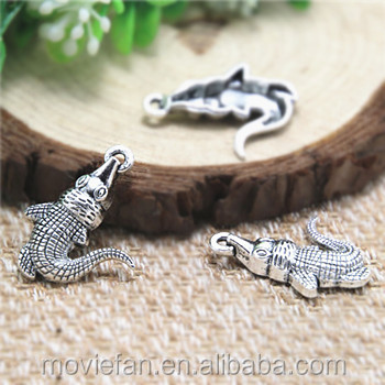 Crocodile charms,Antique Tibetan Silver Alligator Pendants Charms Jewelry Making 20x26mm
