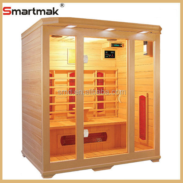 3 person sauna canadian hemlock red cerdar solid wood infrared sauna,far infrared health care sauna cabin