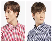 100% cotton non-iron short sleeve button down plaids shirt