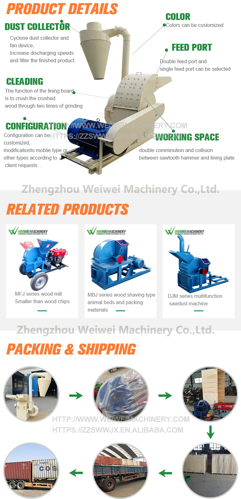 Weiwei wood shredder price of farm wood chipper