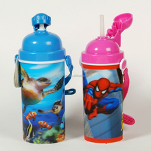 sport water bottle 3D lenticular cups with lids and straws for drinking