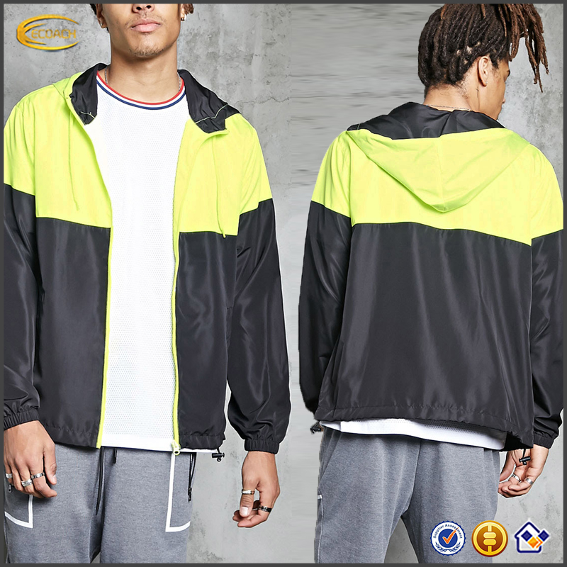 Ecoach high quality long sleeve waterproof windproof breathable blank plain 100%polyester custom Windbreaker Jacket for men