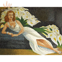 Glass mosaic hand-cut picture for wall mural decoration