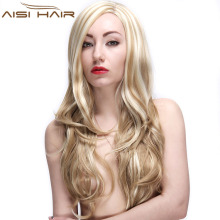 Best Selling Long Wave Blonde Mixed Beige Hair Synthetic Wigs For Black Women