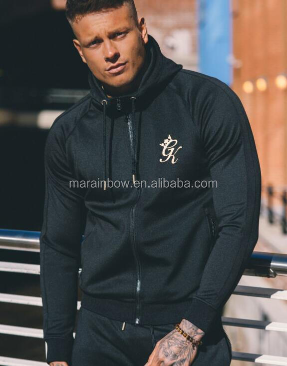 Hot Sale 92% Polyester 8% Spandex Tracksuits for men Slim Fit Gym Hoodie Tapered Poly Tracksuit Top