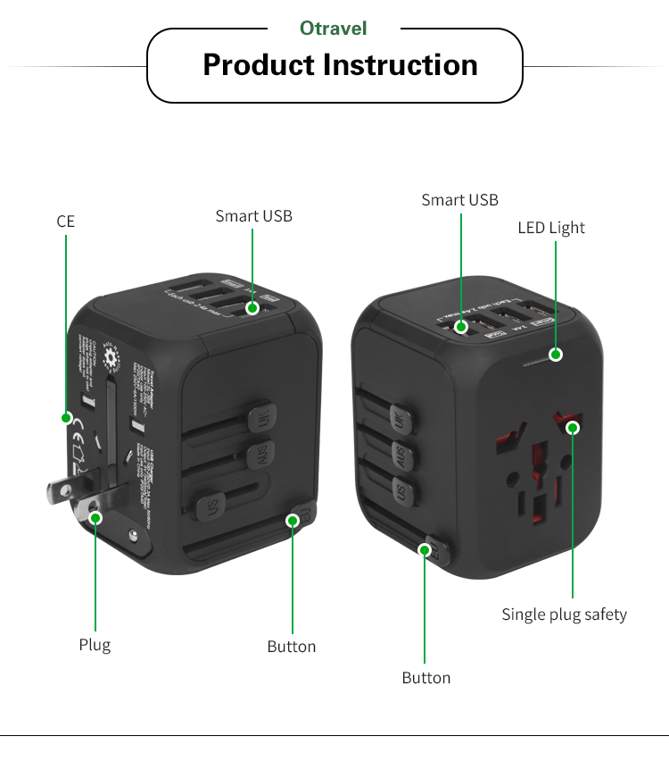 Nieuwe Outdoor geschenken elektronica travel kit universele travel adapter plug met 4 usb-poorten