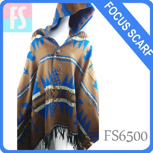 fashion acrylic poncho shawl