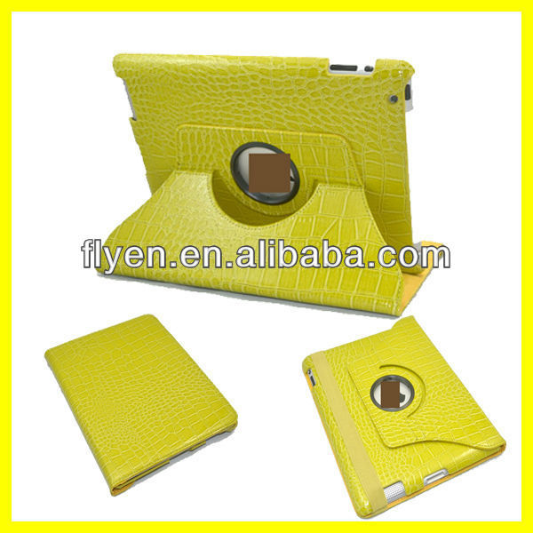 Yellow Crozzling Design Rotating Degree Case for iPad 2 3 4 Leather Cover Wth Sleep Wake UP Function And Magnetic Wholesale