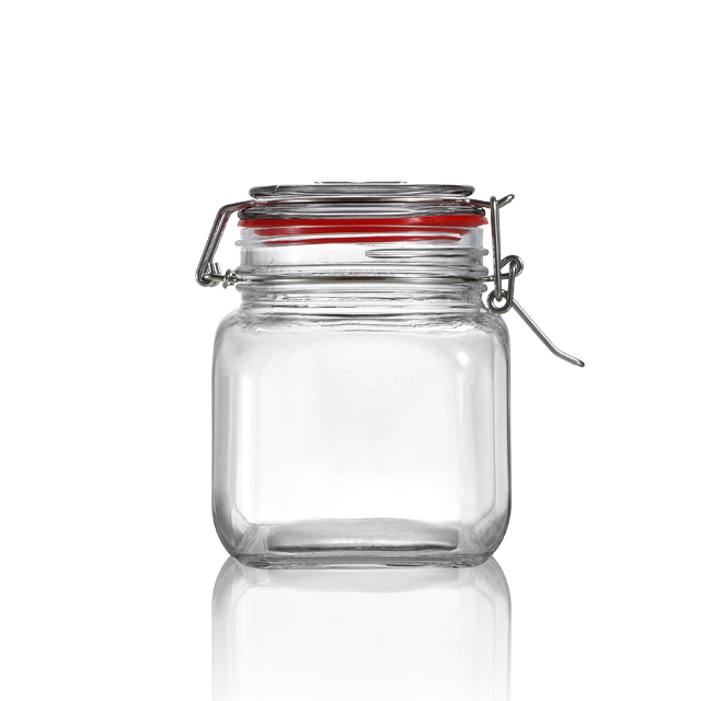 800 ml square straight side flint food grade glass storage jars with lids