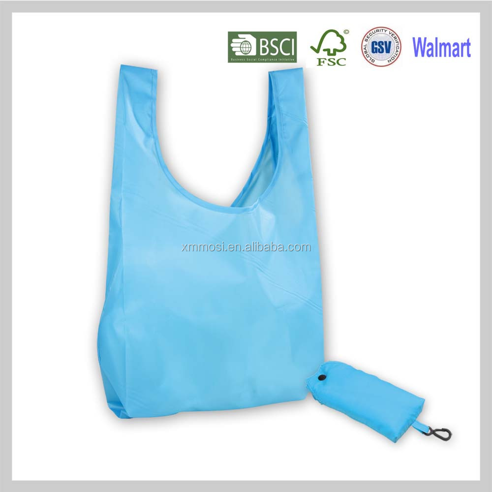 Solid Color Promotional Fashionable Shopping Tote Nylon Folding Bag With Pouch