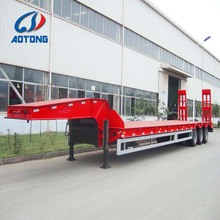 cheap price low bed semi truck trailers with 3 axles(Lowbed trailer/low loader dimensions optional)