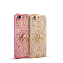 Promotion China Fashion Diamond Flower TPU Cute phone case with 3D back cover stands for iPhone 7