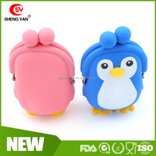 Wholesale Tencent 3D Penguin Personalize coin purse cute silicone wallet silicon coin bag