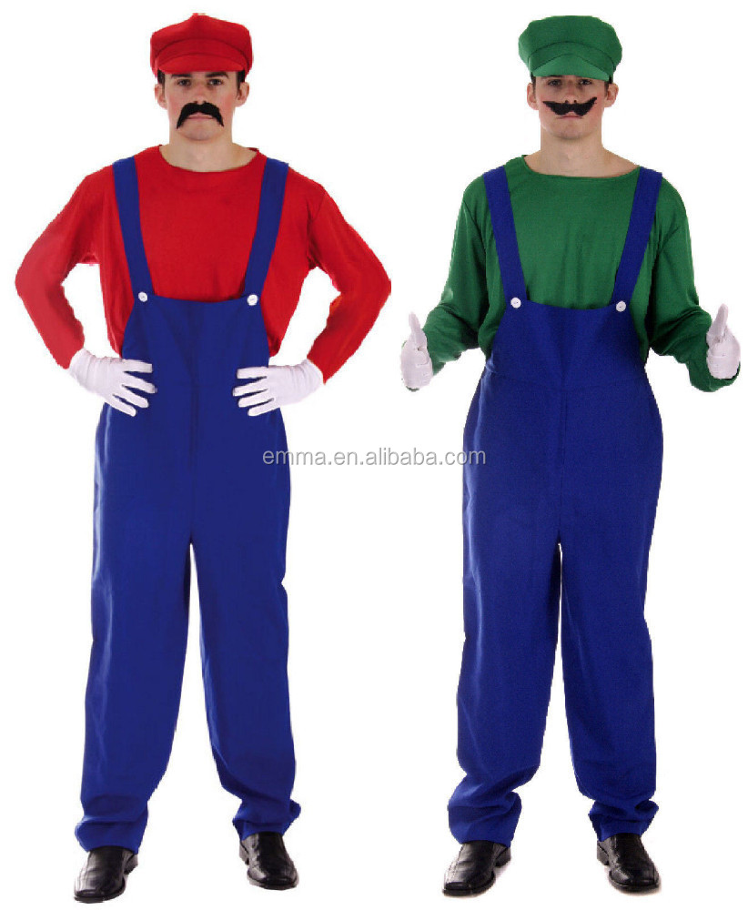 Adult men size funny halloween super marion & luigi bros costume BMG8058