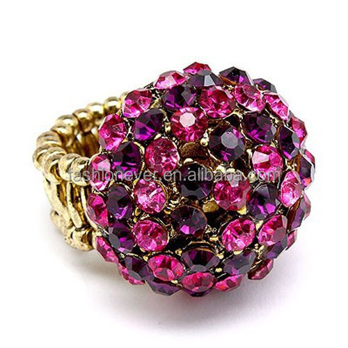 Duo Tone Dome Round Crystal Rhinestone Pave Stretch Ring Fashion Jewelry for Women