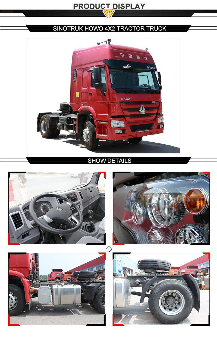 Popular China brand sinotruk howo 380hp 4x2 all wheel drive tractor truck for sale