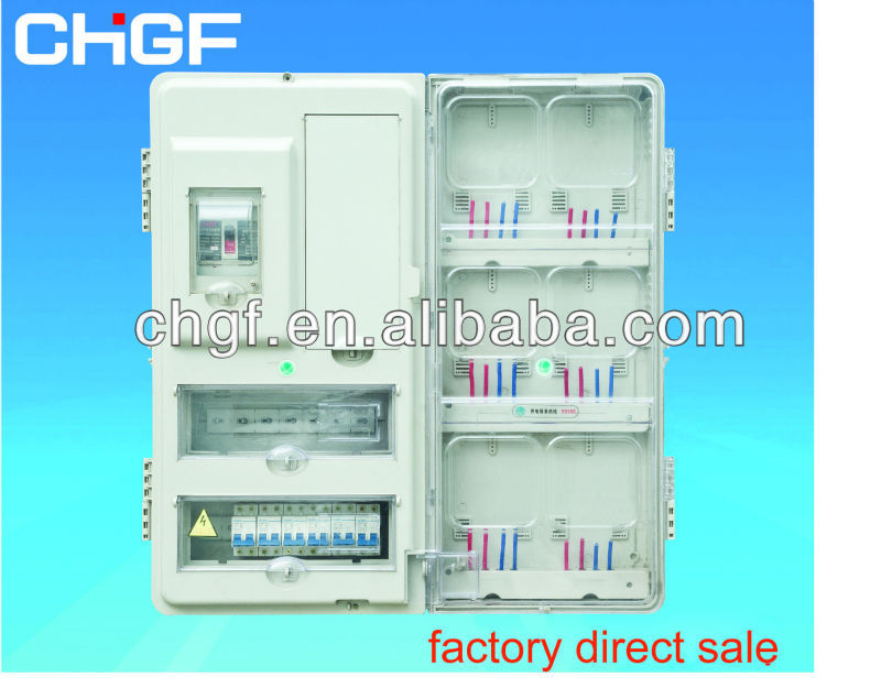 GF outdoor type single phase fiberglass waterproof electric energy watt meter box